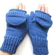 Аксессуары handmade. Livemaster - original item Mittens-mittens with knitted caps level blue. Handmade.
