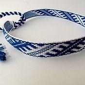 Пояса, очелья, тесемки ручной работы. Ярмарка Мастеров - ручная работа Очелье с мужским узором сине-белое. Handmade.
