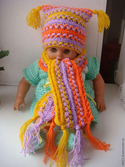 Детские аксессуары ручной работы. Ярмарка Мастеров - ручная работа. Купить комплект шапка + шарф. Handmade. демисезонный комплект
