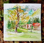 Картины и панно handmade. Livemaster - original item Slovenia landscape watercolor on paper. Handmade.