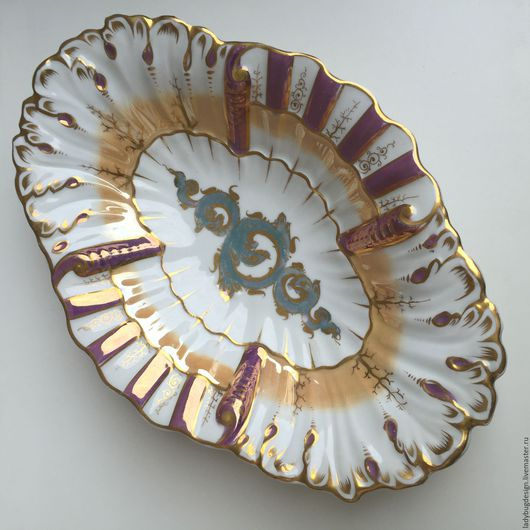 Винтажная посуда. Ярмарка Мастеров - ручная работа. Купить Блюдо с позолотой, Богемия. Handmade. Комбинированный, цветы, фруктовница, персиковый