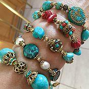 Украшения handmade. Livemaster - original item A set of bracelets: Turquoise and coral bracelet, to choose from. Handmade.