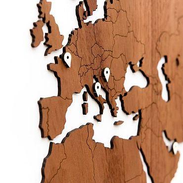 Diseño y publicidad manualidades. Livemaster - hecho a mano Mapa del mundo Sapele 180x108 cm. Handmade.