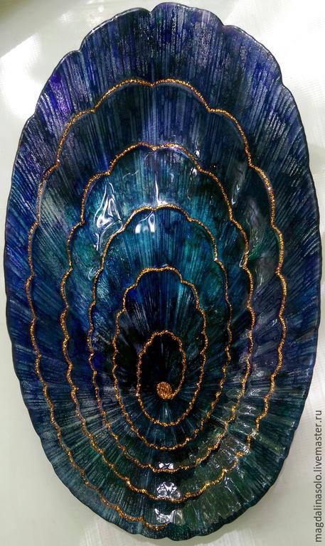 """Тарелки ручной работы. Ярмарка Мастеров - ручная работа. Купить Сервировочная тарелка """"Волшебная Ракушка"""". Handmade. Тёмно-синий, подарок"""