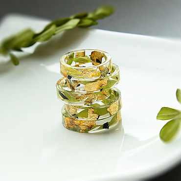 Decorations handmade. Livemaster - original item Rings made of boxwood, gold potali in jewelry resin. Handmade.