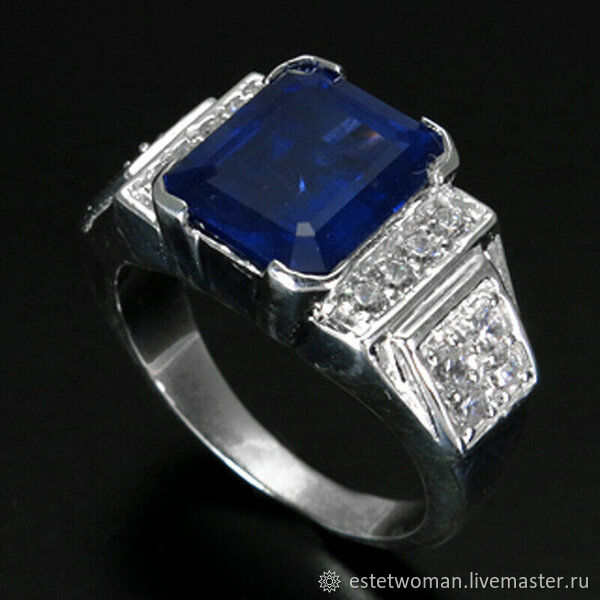 Серебряное кольцо с сапфиром, Кольца, Краснодар,  Фото №1