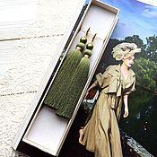 Украшения handmade. Livemaster - original item Earrings-brush Pistachio green olive khaki pearl gold plated. Handmade.