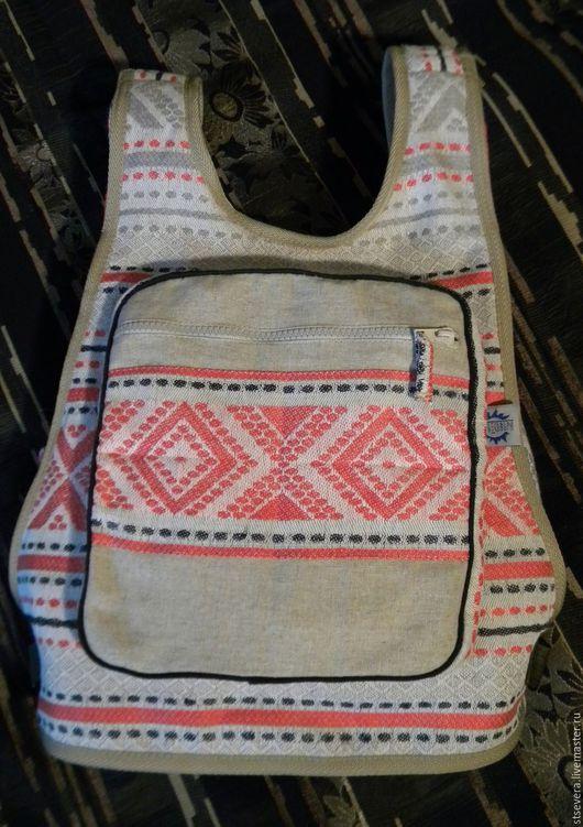 """Рюкзаки ручной работы. Ярмарка Мастеров - ручная работа. Купить Льняной рюкзак """"Стать Севера"""". Handmade. Комбинированный, льняная сумка"""