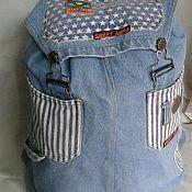 Backpacks handmade. Livemaster - original item Youth denim backpack. Handmade.