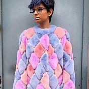 Одежда ручной работы. Ярмарка Мастеров - ручная работа Уникальная Шуба Ромбы разноцветная. Handmade.