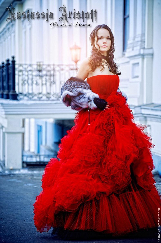 0ae46c3c09ef2ee ручной работы. Ярмарка Мастеров - ручная работа. Купить Красное Свадебное  платье.