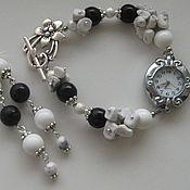 Комплект украшений - часы-браслет и серьги