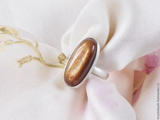 Кольца ручной работы. Ярмарка Мастеров - ручная работа. Купить Кольцо с солнечным камнем. Handmade. Коричневый, серебряное кольцо