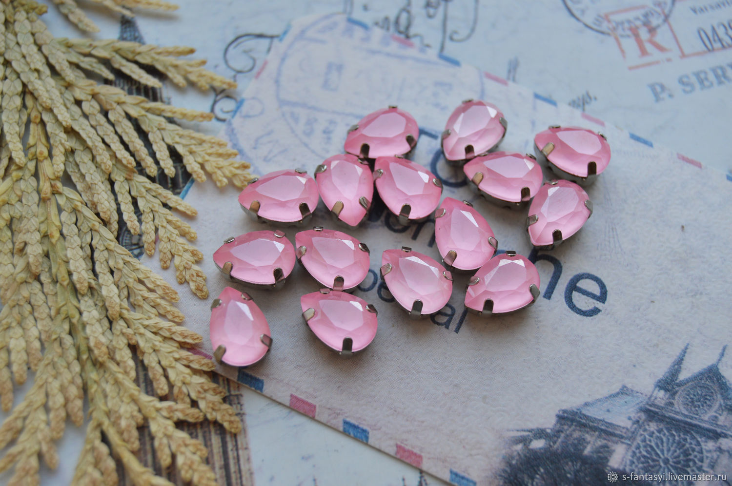 Drop 7h10 Pink cotton lacquer LUX IN DAC, Cabochons, Stavropol,  Фото №1