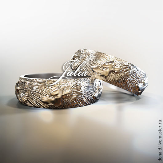Обручальное кольцо `Волки`