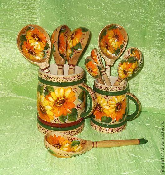 Ложки ручной работы. Ярмарка Мастеров - ручная работа. Купить Ложки деревянные Подсолнухи. Handmade. Ложка, ложки деревянные, оранжевый