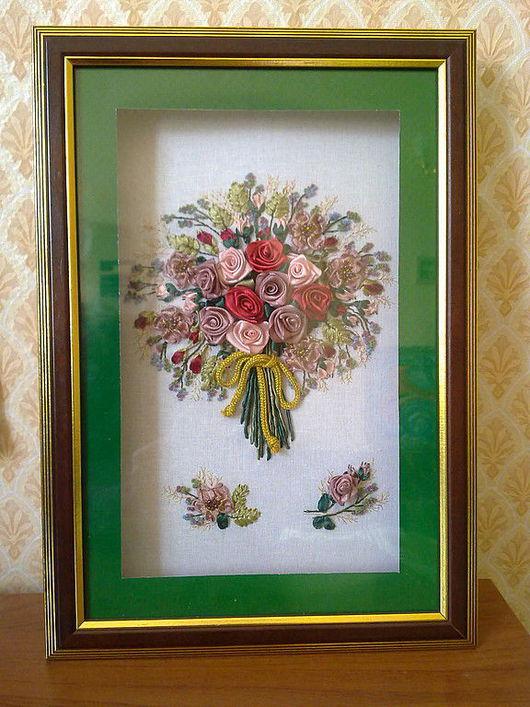 """Картины цветов ручной работы. Ярмарка Мастеров - ручная работа. Купить Картина """"Драгоценный букет"""". Handmade. Картина, атласные ленты"""