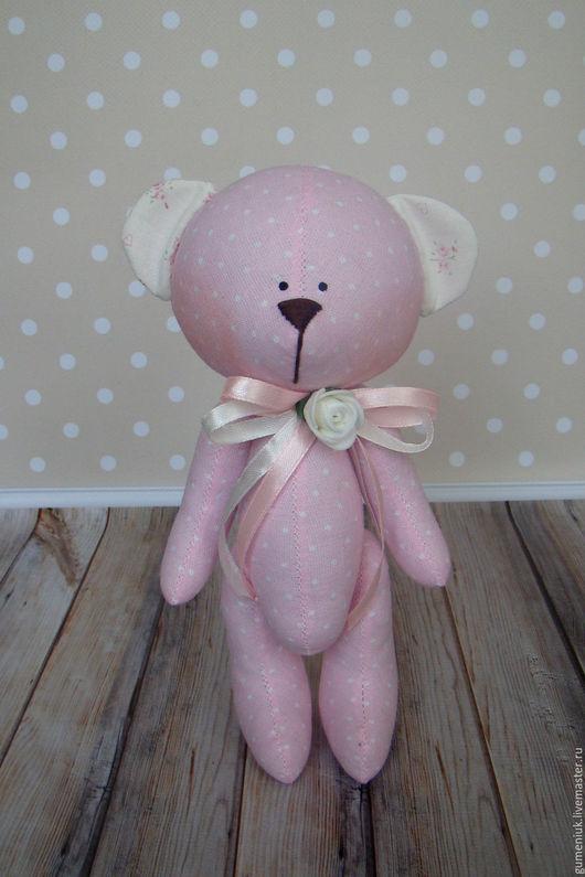 Игрушки животные, ручной работы. Ярмарка Мастеров - ручная работа. Купить текстильный мишка. Handmade. Бледно-розовый, подарок, холлофайбер