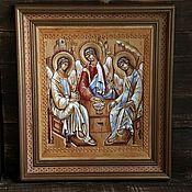 """Картины и панно ручной работы. Ярмарка Мастеров - ручная работа Икона на бересте """"Святая Троица"""". Handmade."""
