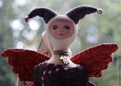 Человечки ручной работы. Ярмарка Мастеров - ручная работа. Купить текстильная кукла - другая бабочка. Handmade. Бежевый, кукла текстильная