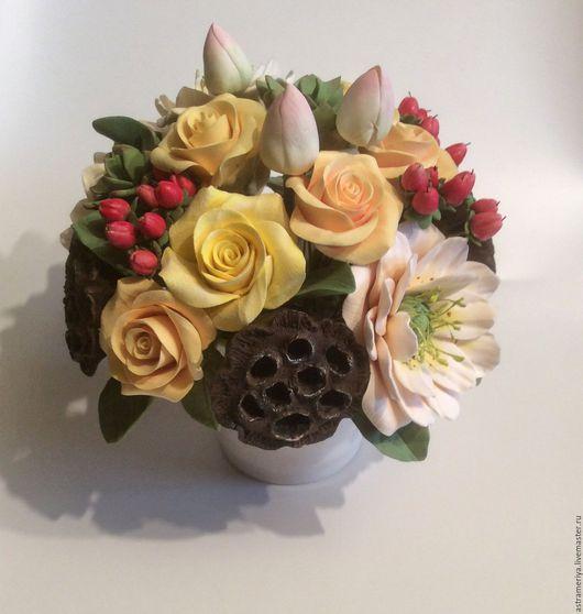 Букеты ручной работы. Ярмарка Мастеров - ручная работа. Купить Букет с цветами из полимерной глины Осенний вальс. Handmade. Комбинированный