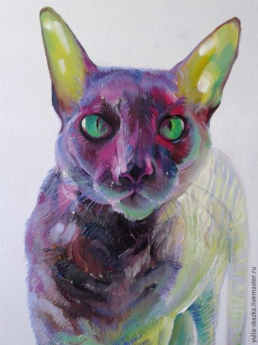 """Животные ручной работы. Ярмарка Мастеров - ручная работа. Купить картина """"Кот """"масло. Handmade. Разноцветный, желтый, фиолетовый, синий"""
