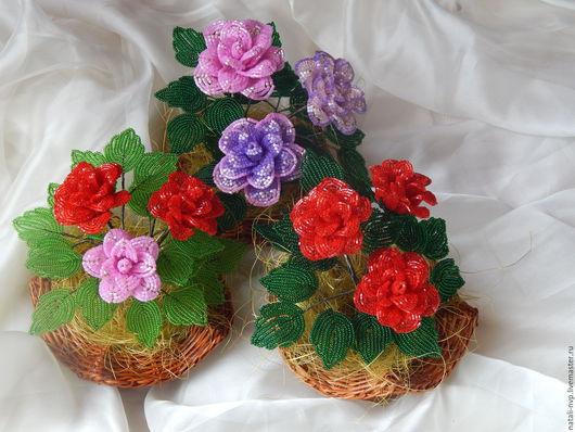Цветы ручной работы. Ярмарка Мастеров - ручная работа. Купить Розы. Handmade. Бисер чешский, бисер чешский