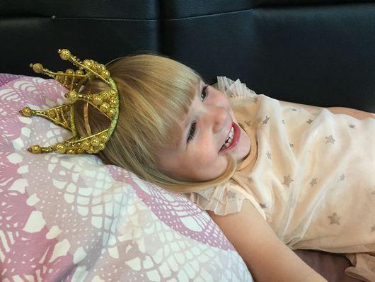 Детская бижутерия ручной работы. Ярмарка Мастеров - ручная работа. Купить Золотая корона. Handmade. Корона, ободок для волос