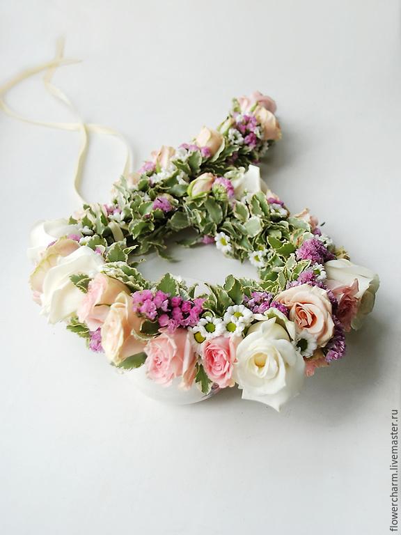 Венок из цветов живых на голову купить москва