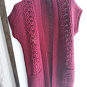 Одежда ручной работы. Ярмарка Мастеров - ручная работа Вязаная женская безрукавка удлиненная. Handmade.