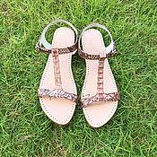 Обувь ручной работы handmade. Livemaster - original item SUNNY Python leather sandals. Handmade.