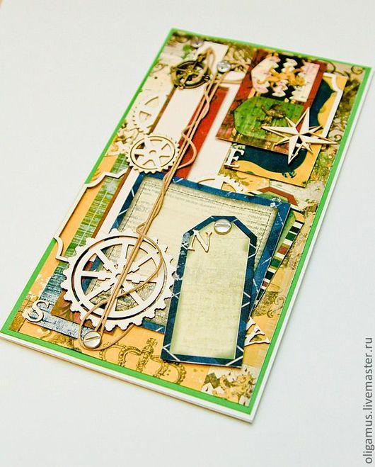 Открытки для мужчин, ручной работы. Ярмарка Мастеров - ручная работа. Купить Мужская открытка в коробке. Handmade. Открытка ручной работы