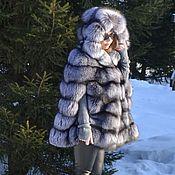 Одежда handmade. Livemaster - original item poncho. Cape. Fur black-brown ( silver) foxes.. Handmade.
