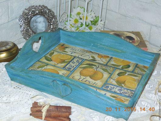 """Кухня ручной работы. Ярмарка Мастеров - ручная работа. Купить """"Лимонная пастила"""" поднос. Handmade. Синий, стиль винтаж"""