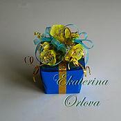 Подарки к праздникам ручной работы. Ярмарка Мастеров - ручная работа Секрет (букет из конфет) синий. Handmade.