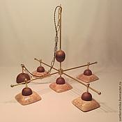 Для дома и интерьера ручной работы. Ярмарка Мастеров - ручная работа Люстра с пятью плафонами и латунным каркасом «Отпечаток лета». Handmade.