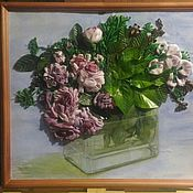 Картины ручной работы. Ярмарка Мастеров - ручная работа Розы в вазе. Handmade.