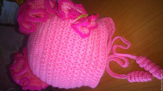 """Для подростков, ручной работы. Ярмарка Мастеров - ручная работа. Купить детская шапочка """"бабочка"""". Handmade. Розовый, осень"""