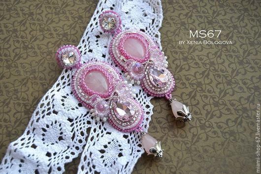 Серьги ручной работы. Ярмарка Мастеров - ручная работа. Купить серьги Pink LILY вышивка бисером. Handmade. Розовый