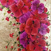Картины и панно handmade. Livemaster - original item Red flowers. Interior flower series with gold leaf. Handmade.