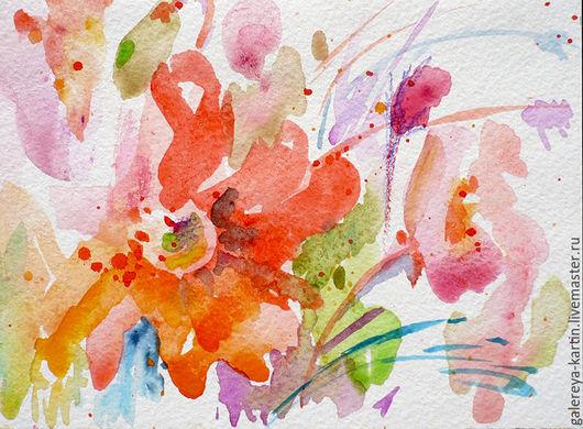 Открытки ручной работы. Акварельная открытка. Нежные цветы. Подарок к празднику. Поздравительная открытка.