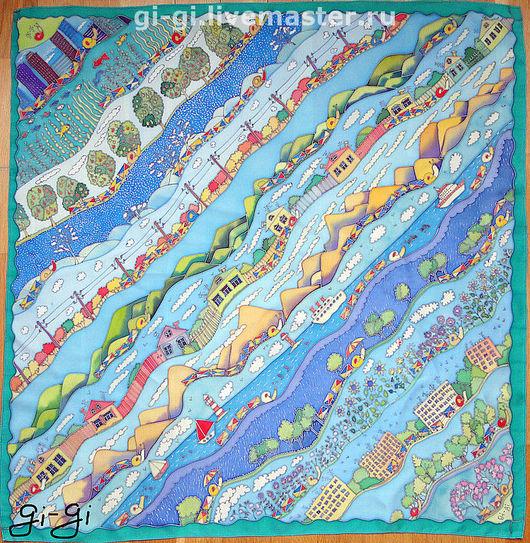 Шарфы и шарфики ручной работы. Ярмарка Мастеров - ручная работа. Купить Почтовые улитки. Handmade. Улитки, многоцветный, вода