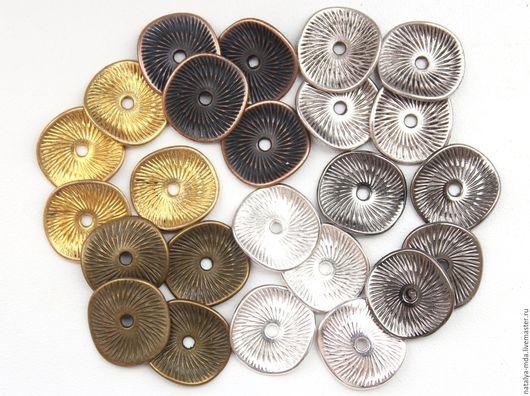 Для украшений ручной работы. Ярмарка Мастеров - ручная работа. Купить Бусины плоские 15мм (10шт.) - 6 цветов. Handmade.