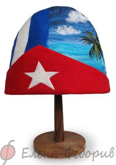 """Банные принадлежности ручной работы. Ярмарка Мастеров - ручная работа. Купить Шапка для бани """"Куба"""". Handmade. Куба, шапка для бани"""