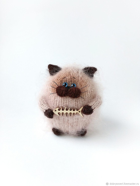 Вязаная игрушка сиамский кот, вязаные коты, подарок ручная работа, Мягкие игрушки, Барнаул,  Фото №1