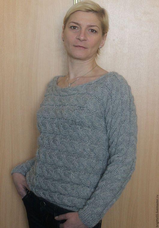 """Кофты и свитера ручной работы. Ярмарка Мастеров - ручная работа. Купить Пуловер """"Косы"""". Handmade. Серый, пуловер женский"""