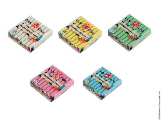 Полимерная глина `Craft&Clay` перламутр верхний ряд: 1201 белый, 1202 желтый, 1203 зеленый нижний ряд: 1204 розовый, 1205 голубой