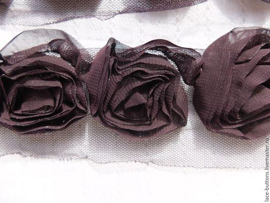 """Шитье ручной работы. Ярмарка Мастеров - ручная работа. Купить Объемные цветы """"баклажан"""" 4,5см. Handmade. Тесьма"""