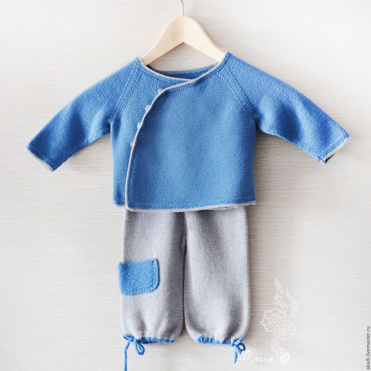 Одежда для мальчиков, ручной работы. Ярмарка Мастеров - ручная работа. Купить Готовая работа! Комплект для мальчика шерсть меринос синий и серый. Handmade.