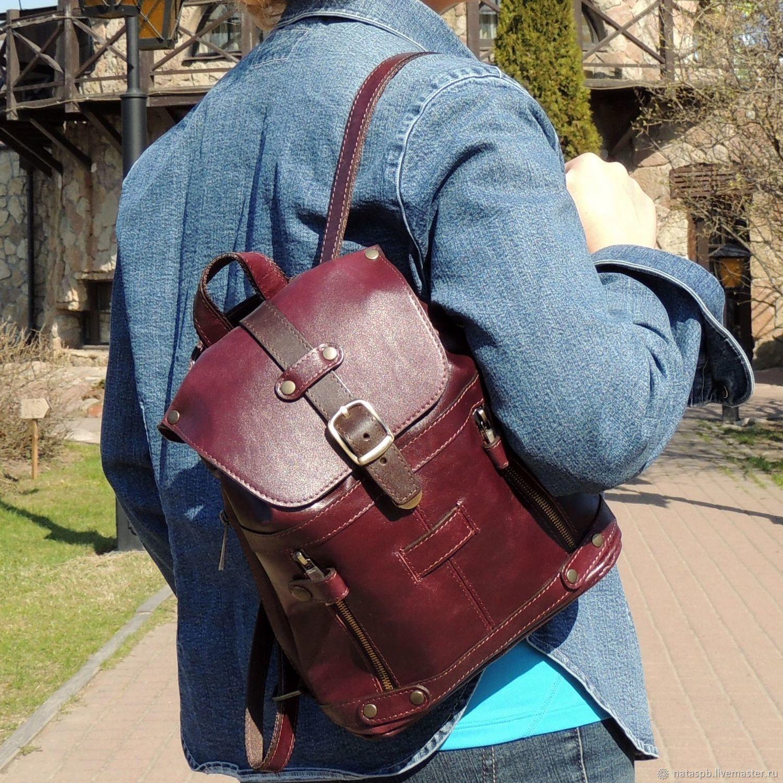 Backpack women's leather Bordeaux Burgundy Fashion R13m-682, Backpacks, St. Petersburg,  Фото №1